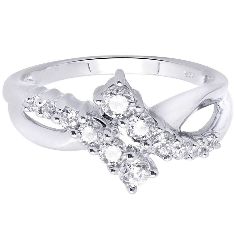 Buy Hoop Silver With Cz Diamond Silver Ring online