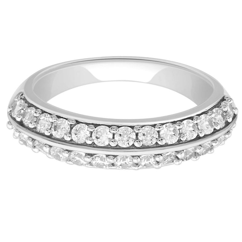Buy Hoop Silver With Cz Diamond Silver Ring For Womens Rf4590 online