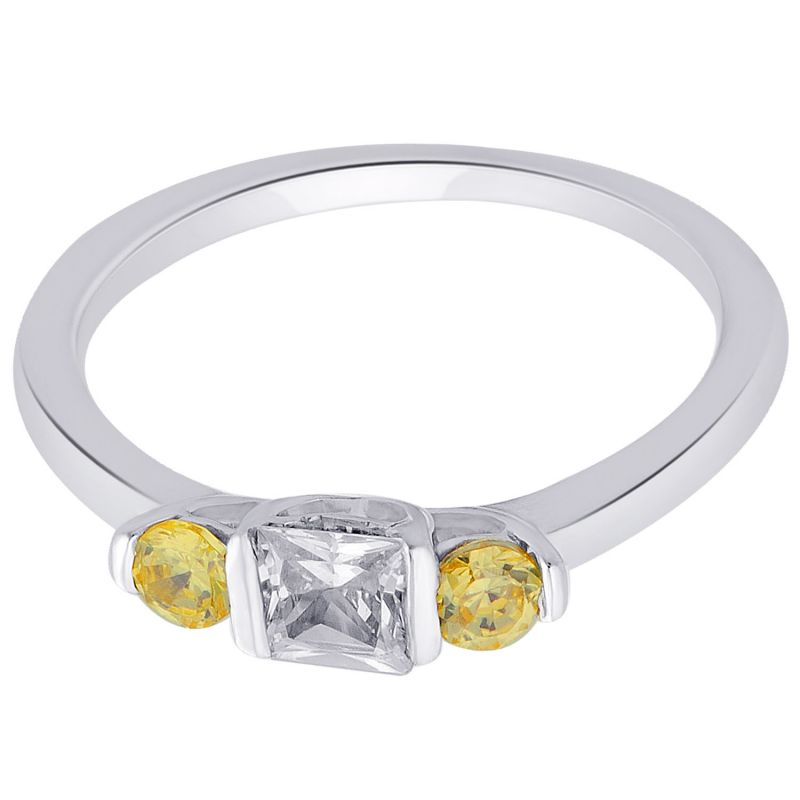 Buy Hoop Silver With Cz Diamond Yellow Ring For Womens online