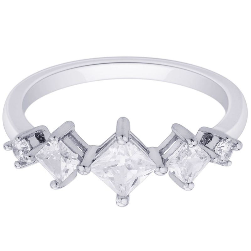 Buy Hoop Silver With Cz Diamond Silver Ring For Womens Rf8939 online