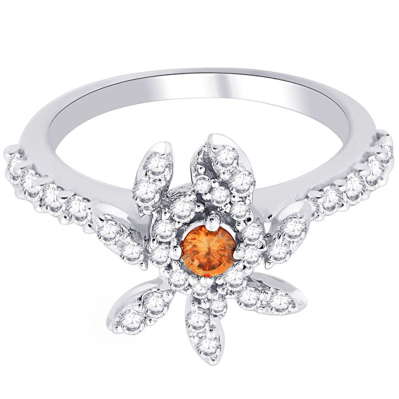 Buy Hoop Silver With Cz Diamond Orange Ring For Womens online