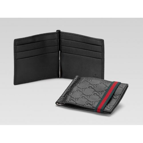 Buy Gucci Money Clip Wallet Black Guccissima Leather Signature Web Price and Features.Shop  Gucci Money Clip Wallet Black Guccissima Leather Signature Web Online.