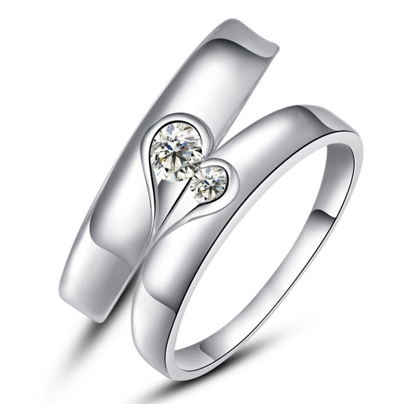 Buy Kiara Jewellery Sterling Silver Swarovski Zirconia Couple Ring ...