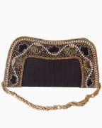 Moksh Black Dupion Silk Clutch  For Womens - (Code - A960BK210)