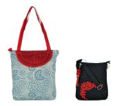 Combo Of Pick Pocket Accrue Blue And Red Tote With Semicircle With Black Small Sling Bag
