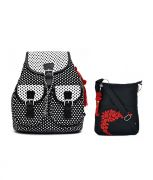 Combo Of Pick Pocket Polka Dot Printed Classy Canvas Back Pack WithBlack Small Sling Bag