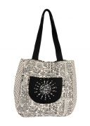 Pick Pocket Canvas Accrue Jholi Bag With Hand Embroidered Patch.