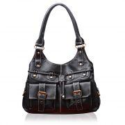 Fostelo Black Multi Pockets Leather Handbag