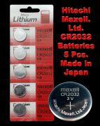 CR2032 Maxell Battery 5 Pieces. 3V Micro Lithium Button Coin Cell