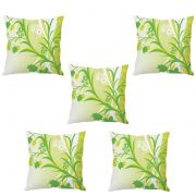 Stybuzz White And Green Floral Abstract Art Cushion Cover- Set Of 5