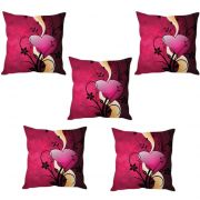 Stybuzz Heart Abstract Cushion Cover- Set Of 5
