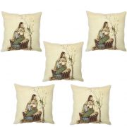 Stybuzz Traditional Indian Woman Cushion Cover- Set Of 5