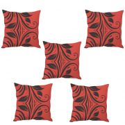 Stybuzz Red Leaf Abtract Art Cushion Cover- Set Of 5