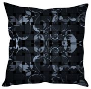 Stybuzz Floral Check Pattern Black Cushion Cover