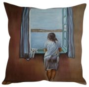 Stybuzz Girl Peeking Out Of The Window Brown Cushion Cover