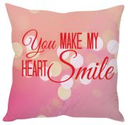 Stybuzz You Make My Heart Smile Pink Cushion Cover