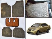 Washable Car Floor Mats For TATA Manza - (Paw Design - Brown & Black)
