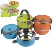 Urban Living Double Layer Stainless Steel Lunch Box-green,blue,orange