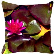 Fabulloso Leaf Designs Fuchsia Lotus With Leaves Cushion Cover - 8x8 Inches