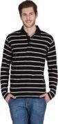 Hypernation Black With White Striped Cotton Polo T-Shirt