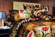 Welhouse India Inviting Floral With Tiger Print Double Bed Sheet - M-021