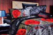 Welhouse India Roses With Vine Floral Print Double Bed Sheet - M-023