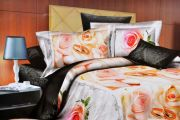 Welhouse India Roses With Vine Floral Print Double Bed Sheet - M-024