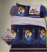 Welhouse India Polycotton Puppy Print Double Bed Sheet With Two Pillow Cover - Nft-11