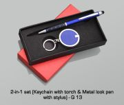 Q13 - 2 In 1 Set (Keychain With Torch & Metal Look Pen With Stylus)