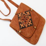 Hand Bags-Kashmiri Brown Leather Sling Bag