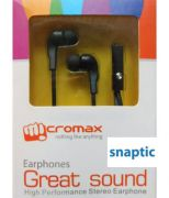 Micromax Black In Ear Stereo Headset Earphones With Mic For Micromax Canvas Fun A76