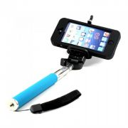 Monopod Extendable Selfie Stick With Mobile Holder - Blue