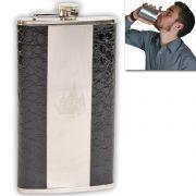 12 Oz STAINLESS STEEL Drinks Hip Pocket Wine Flask Screw Cap - 07