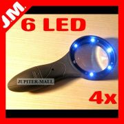 4x Jumbo Magnifier Magnifying Glass Jewelry LED Uv