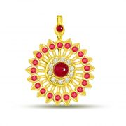 Surat Diamond Ruby Pendant In Yellow Gold With Diamonds P1090