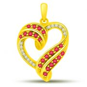 Surat Diamond Heart Shaped Ruby And Diamond Pendant In Yellow Gold P1105