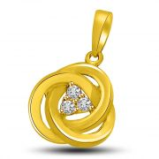 Surat Diamond 3 Entwined Rings With Diamond & Gold Pendant P843