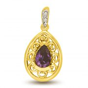 Surat Diamond Pear Amethyst Filigree Style Diamond Gold Pendant P959