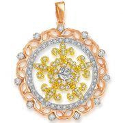 Surat Diamond 1.00 Cts Two Tone 18K Gold Diamond Pendant -  P639