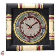 Hand Painted Worli Style Wood Wall Clock