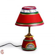 Bright Red Tribal Art Form Terracotta Base Table Lamp