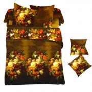 Brown Polyester King Size Bedsheet With Floral Bouquet Print