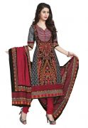 Salwar Studio Multicolor & Red Cotton Salwar Kameez Suit With Dupatta RangResham-1811