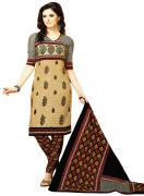 Salwar Studio Fawn & Black Unstitched Salwar Kameez With Dupatta AR-1309