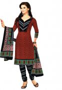 Salwar Studio Maroon & Black Unstitched Salwar Kameez With Dupatta AR-1312