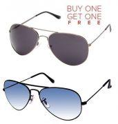 Black Aviator Sunglasses And Blue Aviator Sunglasses - Buy 1 Get 1 Free