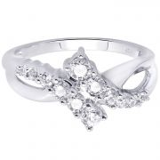 Hoop Silver With Cz Diamond Silver Ring For Womens Rf4224
