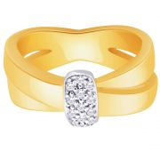 Hoop Silver With Cz Diamond Gold Plated Ring For Womens Rf4416