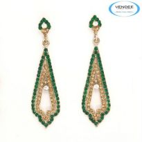 Vendee Fashion Green Alloy Earring 3570C