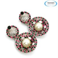 Vendee Fashion Pink & Green Alloy Earring 4854